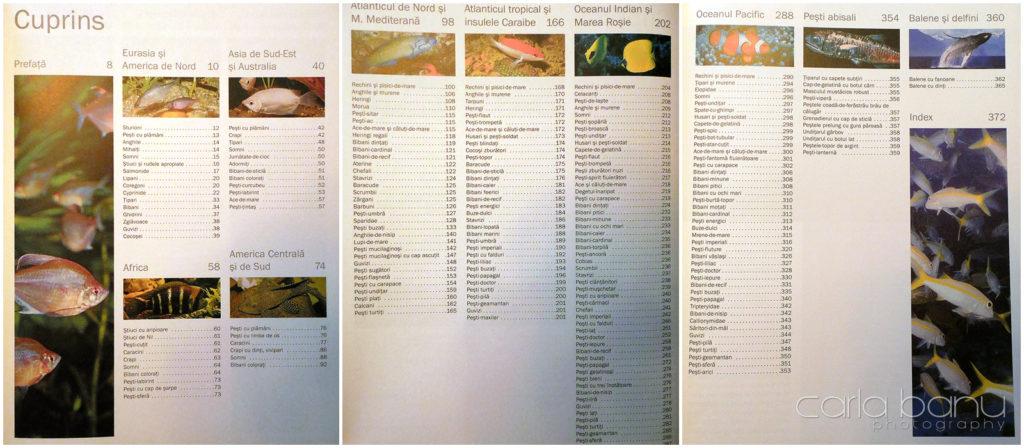 Cuprins 1000 specii de pestri
