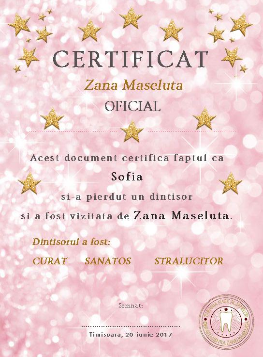 Certificat Zâna Măseluță